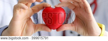Doctors Cardiologists Hold Red Toy Heart In Clinic Closeup. Diagnosis And Treatment Of Myocardial In
