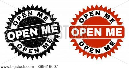 Black Rosette Open Me Seal. Flat Vector Distress Seal Stamp With Open Me Title Inside Sharp Rosette,