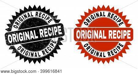 Black Rosette Original Recipe Watermark. Flat Vector Textured Stamp With Original Recipe Text Inside