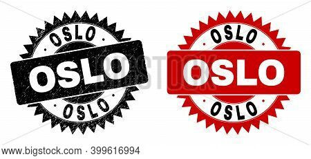 Black Rosette Oslo Seal Stamp. Flat Vector Textured Seal Stamp With Oslo Message Inside Sharp Rosett