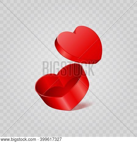 Red Heart Gift Box Isolated On Transparent Background