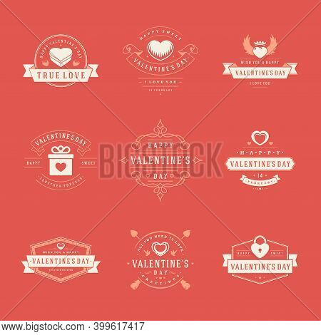 Happy Valentines Day Labels, Badges, Symbols, Illustrations And Typography Vector Design Elements