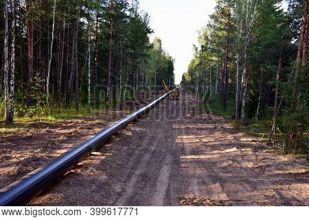 Natural Gas Pipeline Construction Work In Forest Area. Installation Of Gas And Crude Oil Pipes. Cons