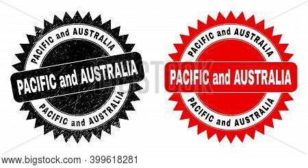 Black Rosette Pacific And Australia Seal Stamp. Flat Vector Textured Stamp With Pacific And Australi