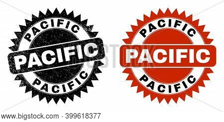 Black Rosette Pacific Seal. Flat Vector Grunge Seal Stamp With Pacific Message Inside Sharp Rosette,