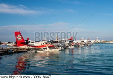 Male, Maldives, 20.11.2020. Trans Maldivian Airways Terminal And Dock, With Seaplanes Twin Otter Ser