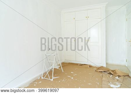 Home Renovation Concept - Old Apartment During Restoration Or Refurbishment With White Plaster Walls