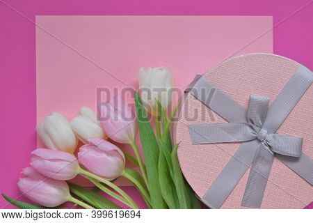 Tulips Flowers.international Women's Day, Mother's Day Background.floral Card Blank With White And P