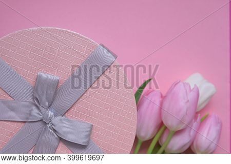 Tulips Flowers.international Women's Day, Mother's Day .floral Card Blank With White And Pink Tulips