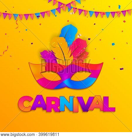 Carnaval Background.traditional Mask With Feathers And Confetti For Fesival, Masquerade, Parade.temp