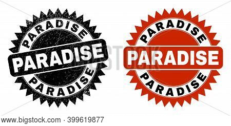 Black Rosette Paradise Seal. Flat Vector Distress Seal Stamp With Paradise Message Inside Sharp Rose