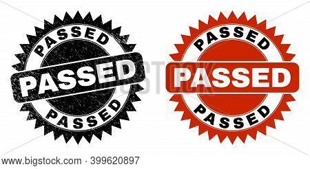 Black Rosette Passed Seal. Flat Vector Textured Seal With Passed Message Inside Sharp Rosette, And O