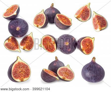 Set Of Whole And Sliced Figs Isolated