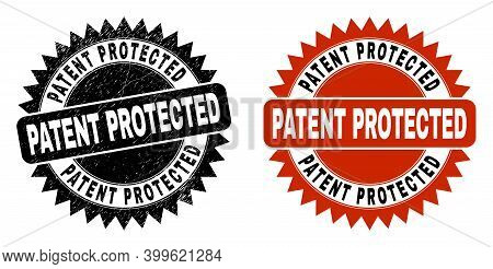 Black Rosette Patent Protected Seal Stamp. Flat Vector Grunge Seal Stamp With Patent Protected Title