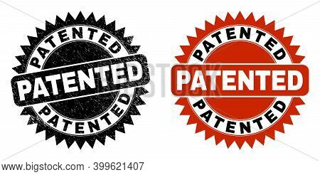 Black Rosette Patented Stamp. Flat Vector Scratched Seal Stamp With Patented Title Inside Sharp Rose