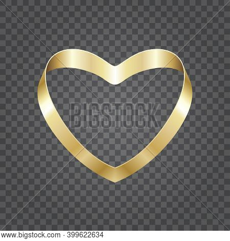 Golden Shiny Heart Shape From Ribbon Isolated On Transparent Background