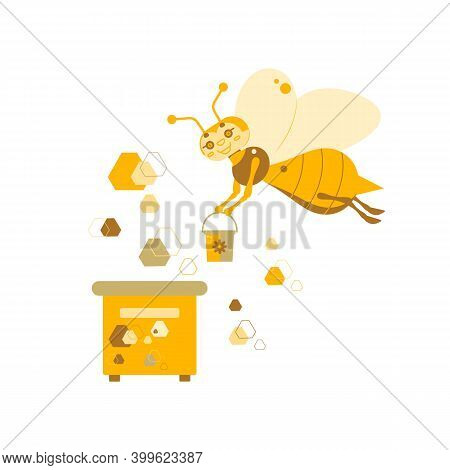 Vector Illustration Of A Honey Bee With A Bucket Of Honey On A Background Of A Beehive And Honeycomb