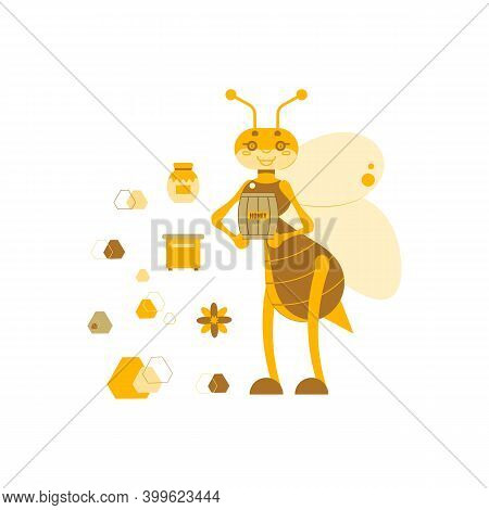 Vector Illustration Of A Honey Bee With A Barrel Of Honey On A Background Of A Beehive, A Jar Of Hon