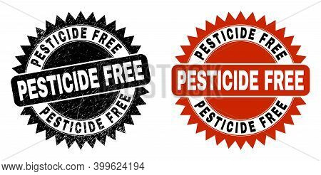 Black Rosette Pesticide Free Stamp. Flat Vector Distress Seal Stamp With Pesticide Free Title Inside
