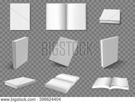 Realistic Books. Blank Book Layouts, Open And Closed White Brochure Catalog Or Booklet Surface. Whit