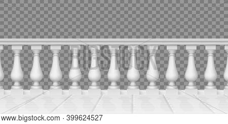 Realistic Balustrade. Marble Balustrade, Terrace, Porch Or Balcony Railing, Fencing Sections With Ba