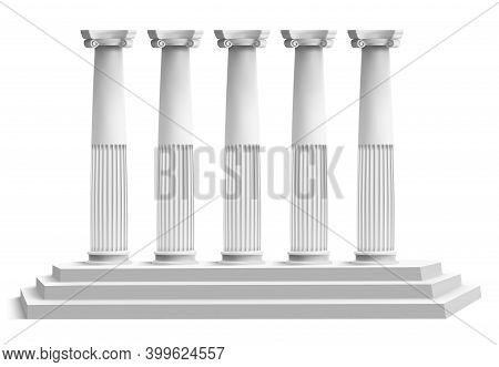 Realistic Temple Columns. Ancient Greek Pillars With Marble 3d Stair Podium. Antique Columns Facade