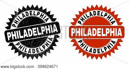 Black Rosette Philadelphia Seal. Flat Vector Scratched Seal With Philadelphia Message Inside Sharp R