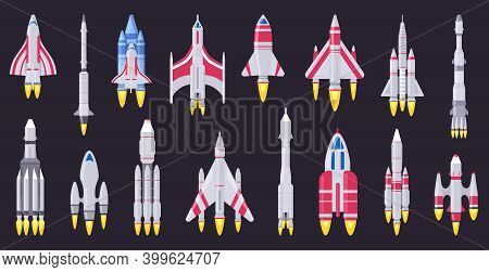 Spaceships Vehicles. Space Rocket, Flying Aerospace Shuttle, Spacecraft Ships And Ufo Ships. Space R