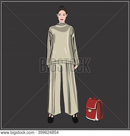 Girl Model In A Beige Trouser Suit And A Burgundy Backpack. Holiday And Work Wardrobe. The Publicati