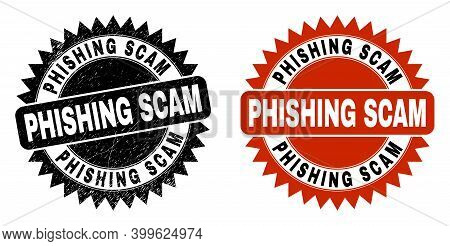 Black Rosette Phishing Scam Watermark. Flat Vector Distress Seal Stamp With Phishing Scam Phrase Ins