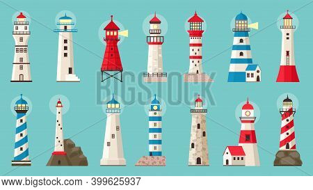 Beacon Building. Lighthouses With Searchlight, Marine Navigation Coastline Towers. Searchlight Archi