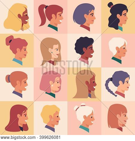 Female Profile Faces. Women Portraits, Various Nationality, Brunette, Blonde, Redhead Female Charact