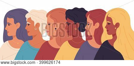 Women Day. Female Profile Portraits, Sisterhood Diverse Group, Women Empowerment Movement Vector Ill