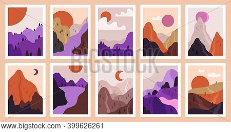 Contemporary Outdoor View. Abstract Minimalist Landscapes, Modern Nature Scenes. Mountain, River And