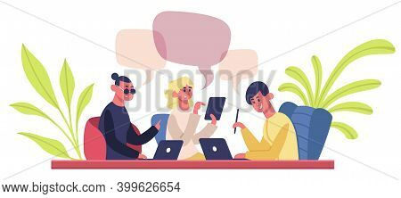 Co-working Team. Young Coworkers Business Team, Freelance People In Coworking Space. Home Office Wor