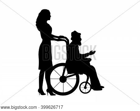 Silhouettes Of Woman Walking Her Grandfather In Wheelchair. Illustration Symbol Icon