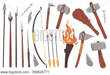 Primitive Culture Tools. Stone Age Stone Or Wooden Weapon, Hammer, Spear, Axe, Fire Torch. Prehistor
