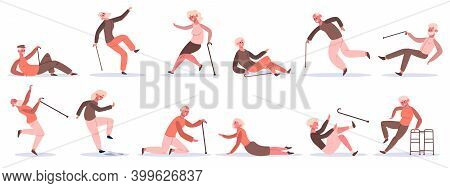 Falling Elderly Characters. Old People Stumble And Slip, Retired Characters Falling Down. Dangerous