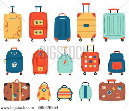 Luggage Bags. Vacation Baggage, Plastic, Metal Or Textile Tourism Suitcases With Wheels. Travel Bagg