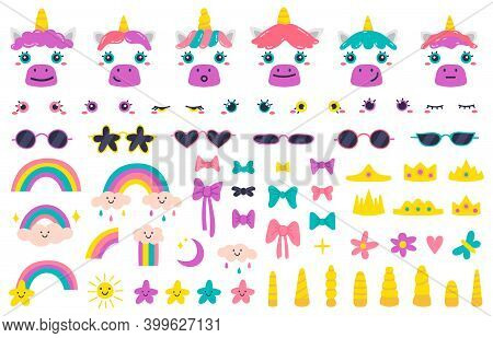 Unicorn Faces. Cute Fairytale Unicorn Face Constructor, Unicorn Horns, Hairstyle, Glasses And Bows.