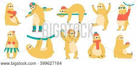 Funny Sloths. Cute Hand Drawn Lazy Animals, Funny Tropical Mammals, Adorable Sloth Mascots Vector Il