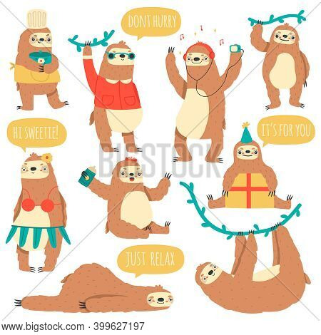 Hanging Sloths. Wild Tropical Animal Characters, Funny Lazy Rainforest Sloths Vector Illustration Se