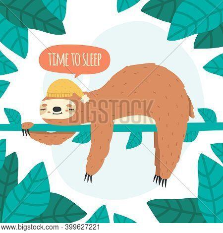 Cute Sleeping Sloth. Lazy Sloth Hanging On Tree, Funny Rainforest Tropical Animal Vector Illustratio