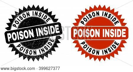 Black Rosette Poison Inside Stamp. Flat Vector Grunge Stamp With Poison Inside Title Inside Sharp Ro