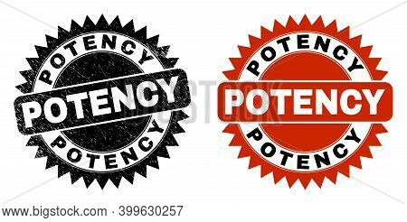 Black Rosette Potency Seal. Flat Vector Distress Seal Stamp With Potency Text Inside Sharp Rosette,