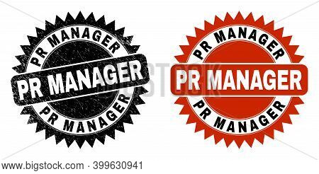 Black Rosette Pr Manager Stamp. Flat Vector Distress Seal Stamp With Pr Manager Text Inside Sharp Ro