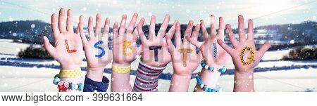 Children Hands Building Word Lsbttiq Means Lsbtq, Snowy Winter Background