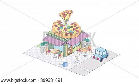 Isometric Pizzeria On White Background. Modern Pizzeria In Isometric Projection.