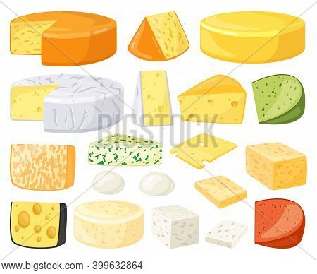 Cartoon Cheese. Dairy Products Types, Cheddar, Parmesan, Brie, Camembert, Mozzarella And Maasdam Sli