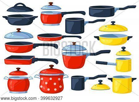 Cartoon Frying Pan. Cooking Pots, Metal Saucepan And Casserole, Kitchen Cooking Items. Kitchen Utens